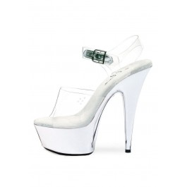 6 Inch Pointed Chrome Stiletto Sandal Women'S Size Shoe With Ankle Strap