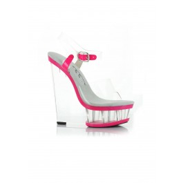 6 Inch Clear And Neon Wedge With Ankle Strap
