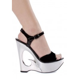 Women's 6 Inch Wedge Heel Sandal With Ankle Strap And Cut-Out Design