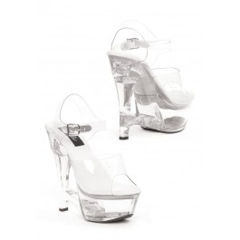6 Inch Heel Clear Wedge Sandal Women'S Size Shoe With Clear Ankle Strap And Cut-Out Design
