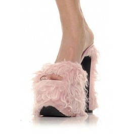 Women's 6 1/2 Inch Heel Platform Sandal With Faux Fur