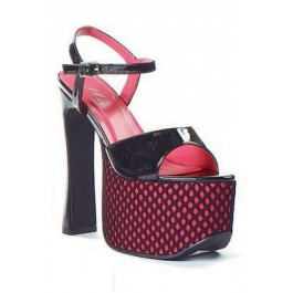 Women's 6 1/2 Inch Heel Sandal With Fishnet And Ankle Strap