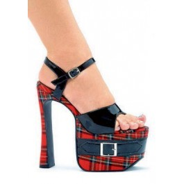 St. Mary 6 1/2 Heel Plaid Sandal With Platform Buckle Detail