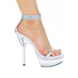6 Inch Rhinestone Heel Sandal Women'S Size Shoe With Silver Rivet Ankle Strap