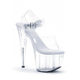 7 Inch Pointed Stiletto Sandal Women'S Size Shoe With Clear Straps