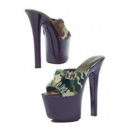 7 Inch Heel Sandal Women'S Size Shoe With Camo Fabric And Faux Bullet Decor