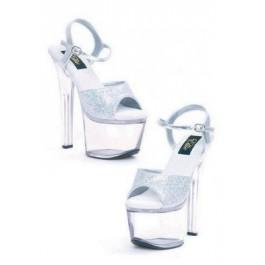 7 Inch Heel Silver Glitter Sandal Women'S Size Shoe With Ankle Strap
