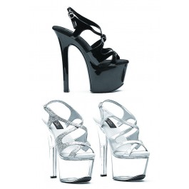 7 Inch Heel Strappy Sandal Women'S Size Shoe With Silver Glitter