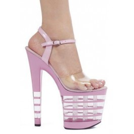 8 Inch Heel Sandal Women'S Size Shoe With Ankle Strap And Clear Lined Platform