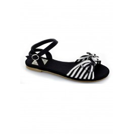 Canvas Nautical Stripes Ankle Strap Flat Sandal