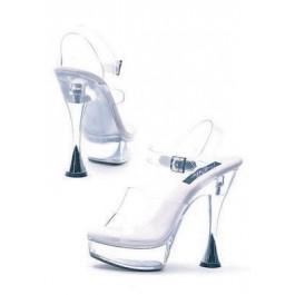 6 Inch Silver Cone Heel Clear Sandal Women'S Size Shoe