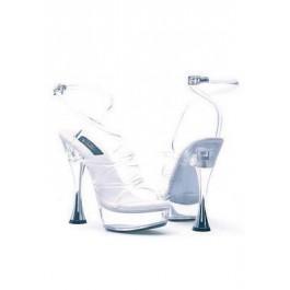 6 Inch Silver Cone Heel Clear Strappy Sandal Women'S Size Shoe