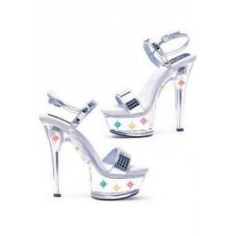 6 Inch Heel Mirror Sandal Women'S Size Shoe With Multicolor Lights