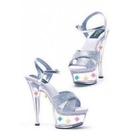 6 Inch Heel Silver Glitter Sandal Women'S Size Shoe With Multicolor Lights