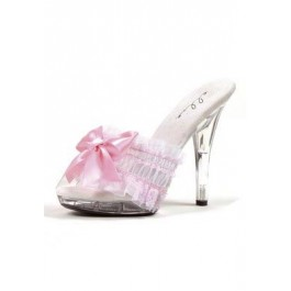 5 Inch Stiletto Sandal Women'S Size Shoe With Ruffle Lace Strap And Decorative Bow