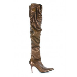 Women's 3.5 Inch Faux Stretch Leather And Patent Thigh High Boot With Ruching