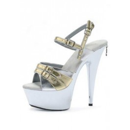 6 Inch 2-Tone Patent Sandal Women'S Size Shoe With 2 Inch Platform And Buckle Detail