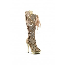 6 Inch Heel, 1 1/2 Inch Dual Platform, Floral Cut-Out, Front Lace-Up Knee