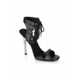 4 1/2 Inch Stiletto Heel Ankle Lace-Up Mini-Platform Sandal