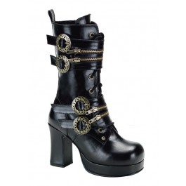 Women's 3 3/4 Inch Heel Steam Gear Buckled Lace-Up Boot