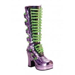 Women's 3 3/4 Inch Heel Buckled Ultraviolet Platform Boot