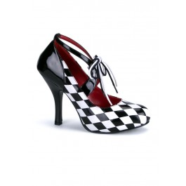 Women's Diamond Printed Pump With Lace-Up Detail