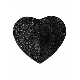 Self Adhesive Black Heart Glitter Pasties