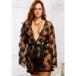 Sheer Lace Robe With Scallop Edge Trim