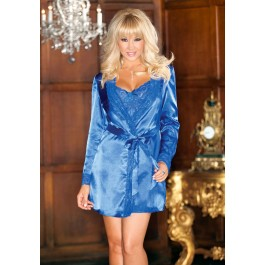 Satin Lace Trim Robe With Matching Sash