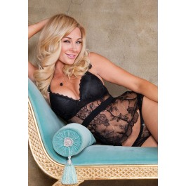 Lace And Pleated Chiffon Tie Back Apron Babydoll