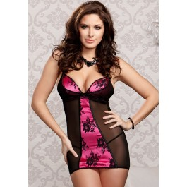 Mesh And Lace Overlay Satin Chemise