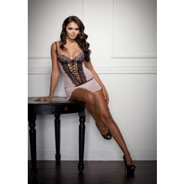 Cross-Dye Lace And Flutter Hem Chemise And G-String