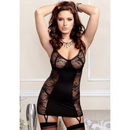 Stretch Lace And Microfiber Chemise With Soft Underwire Cups