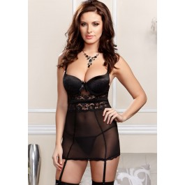 Scallop Lace, Mesh And Microfiber Chemise With Molded Underwire Cups