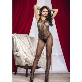 Fishnet And Pinstripe Crotchless Bodystocking