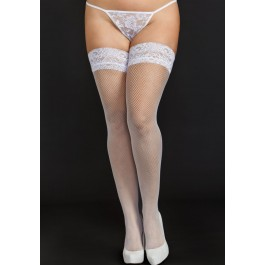 Fine Fishnet Thigh Highs With 2 Inch Lace Top