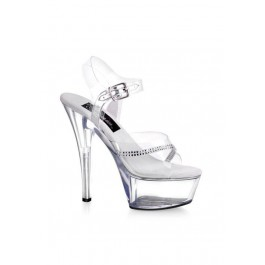 6 Inch Stiletto Heel Ankle Strap Platform Sandal With Rhinestone