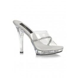 5 Inch Stiletto Heel Platform Slide With Rhinestone