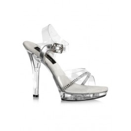 5 Inch Stiletto Heel Ankle Strap Platform Sandal With Rhinestone
