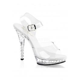 5 Inch Heel, 3/4 Inch Rhinestone Studded Platform Ankle Strap Sandal