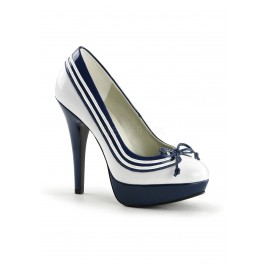 5 Inch Heel, 1 Inch Platform Pump With Stripe And Bow At Toe