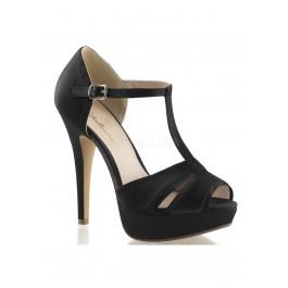 5 Inch Heel, 1 Inch Platform Peep Toe T-Strap Sandal