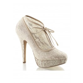 5 Inch Heel, 1 Inch Platform Lace Overlay Bootie With Bow Tie