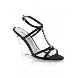 4 Inch T-Strap Sling Back Wedge Sandal