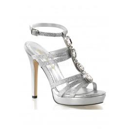 4 3/4 Inch Heel, 1 Inch Platform T-Strap Sandal, With Rhinestone Embellishment