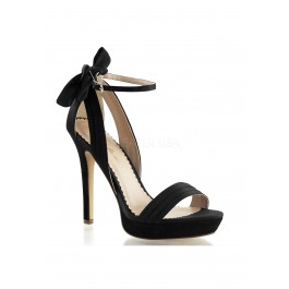 4 3/4 Inch Heel, 1 Inch Platform Closed Back Ankle Strap Sandal With Bow