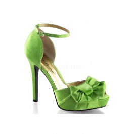 4 3/4 Inch Heel, 1 Inch Platform Peep Toe Ankle Strap D'Orsay Pump With Bow