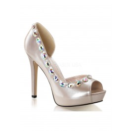 4 3/4 Inch Heel, 1 Inch Platform Open Toe D'Orsay Pump With Rhinestone Embellishments