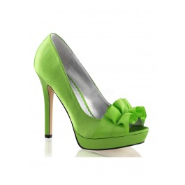 4 3/4 Inch Heel, 1 Inch Platform Peep Toe Pump With Ribbon Across Vamp