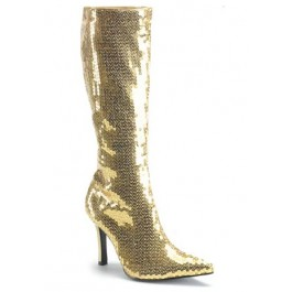 Sequined Knee-High Boot With 3 1/4 Inch Heel